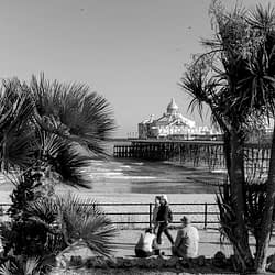 A pictorial black and white photo of Eastbourne pier with some people in the foreground viewed between trees